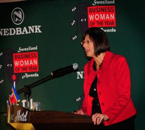 Suzanne Stevens speaking at Nedbank Women Business Awards in Swaziland